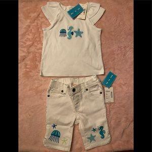 Baby girls Gymboree matching shirt and capris NWT